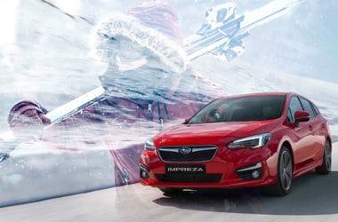 Subaru Impreza rød vintervei